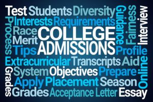 College admissions surrounded by other words associated with college