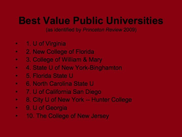 Best Value Colleges 2009 Princeton Review