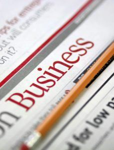 The business section of a newspaper
