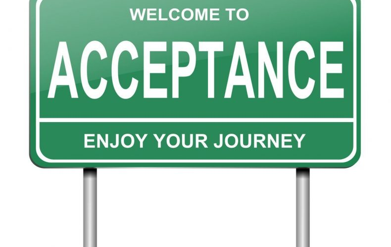 Illustration depicting a green roadsign with an acceptance concept. White background.