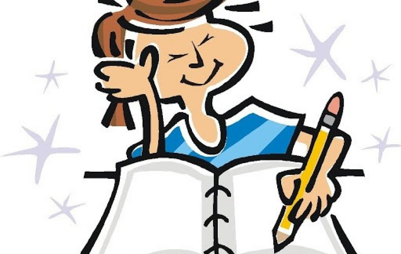 a cartoon girl writing in a notebook