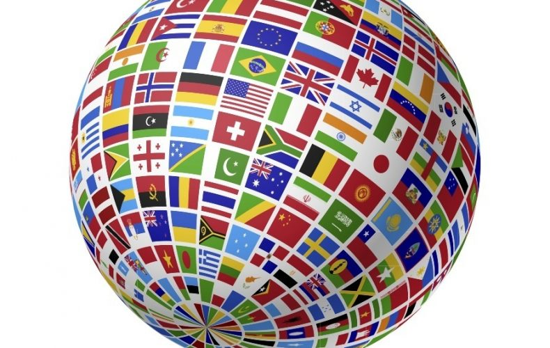 a globe of all the countries flags
